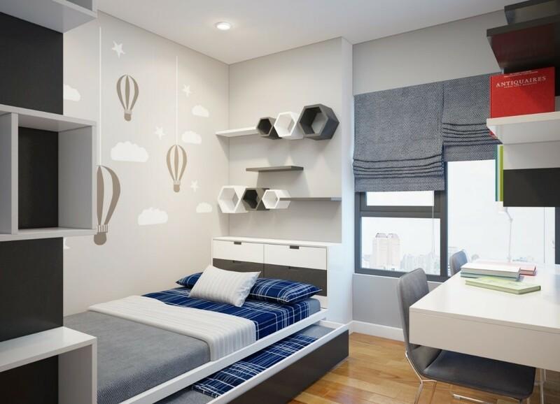 Lựa chọn màu sắc có gam lạnh tạo cảm giác thoải ái, dễ đi vào giấc ngủ