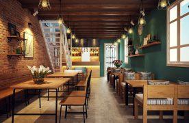 Thiết kế nhà hàng bình dân tuy đơn giản nhưng phải đảm bảo các yếu tố như ánh sáng, màu sắc, ... để thu hút sự chú ý của khách hàng